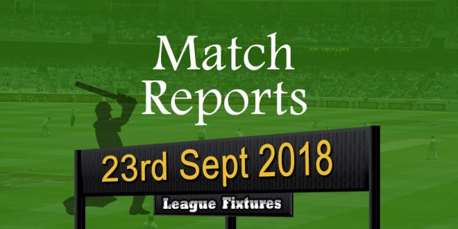 Match Report – 23rd Sept 2018